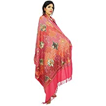 """Wool Crewel Heavy Thread Embroidery Pashmina Wrap 80"""" x 40"""" Inches"""
