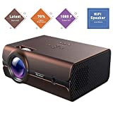 Video Projector, Excelvan 70% Brighter Lumens LED Portable Mini Projector Multimedia 1080P, Compatible with HDMI, USB, VGA, AV, SD Card, Fire TV Stick, PS4, Xbox(Brown)