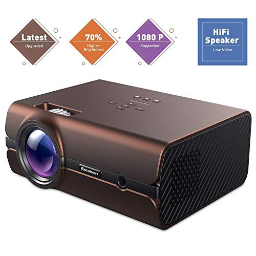 Video Projector, Excelvan 70% Brighter Lumens LED Portable Mini Projector Multimedia 1080P, Compatible with HDMI, USB, VGA, AV, SD Card, Fire TV Stick, PS4, Xbox(Brown) by Excelvan