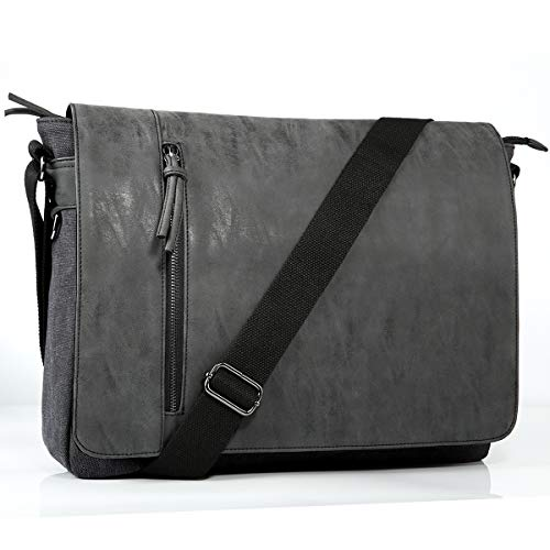 - Laptop Messenger Bag for Men and Women,Tocode Vintage Canvas Messenger Bag Waterproof PU Leather Large Crossbody Shoulder Bag Computer Laptop Bag Fits Up to 16.5 Inch Laptop -Black