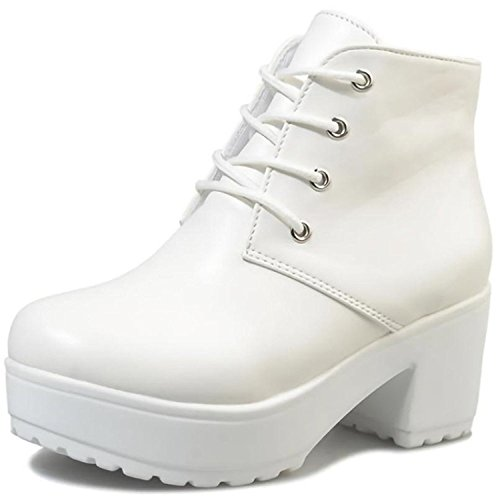 Beaumens Women's Lace up Platform High Heels Fake Leather Short Boots White 41