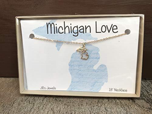 Gold Michigan Cutout Necklace