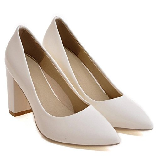 Heel High Block White Pumps TAOFFEN 15 Shoes Women's q1zw44