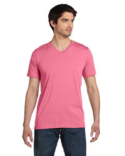 (Bella 3005 Unisex Jersey Short Sleeve V-Neck Tee - Neon Pink, Large)