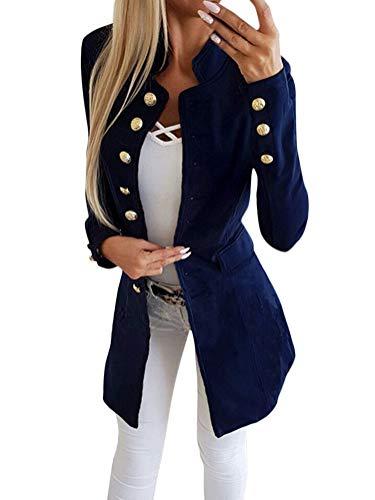 stand bleu manteau col avec long vestes costume manteau femmes fit blazer militaire avant Tomwell bureau bouton élégant slim loisirs 7fbyY6g