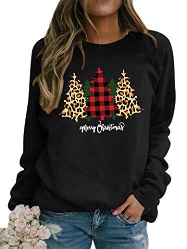 Dresswel Women Merry Christmas Sweatshirt Christmas Tree Pullover Crew Neck Long Sleeve Tops Xmas Jumpers Blouse