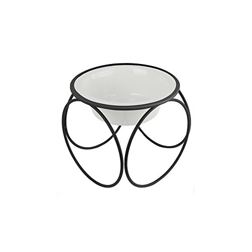Platinum Pets Single Olympic Diner Feeder with Stainless Steel Cat/Puppy Bowl.75 cup/6 oz, Pearl White