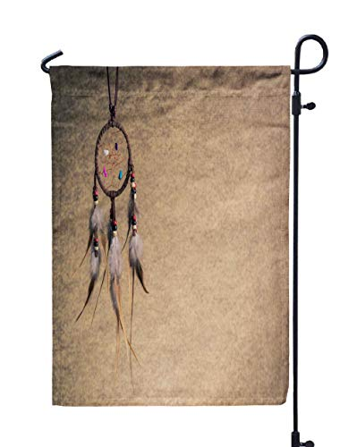 GROOTEY Welcome Outdoor Garden Flag Home Yard Decorative 12X18 Inches Leather Dream Catcher Sepia Tone Background Left Copy Space Double Sided Seasonal Garden Flags