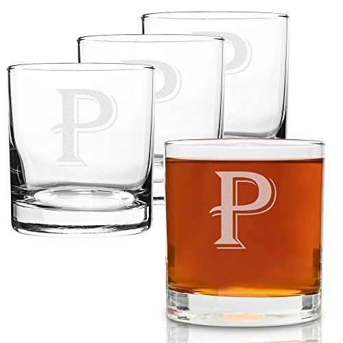 (P-Monogram)- 4 Piece Set of 11 Ounce Engraved Heavy Base Rocks Glasses Elegant Glass-Multi-Purpose Beverage-Rocks Glass- Perfect Gift for any Occasion- By: On The Rox