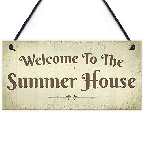Art Decoration - Welcome Summer House Plaque Hanging Shed Garden Sign Outdoor Chic Decor Friendship Gift 10 X 5 inch Wooden Sign