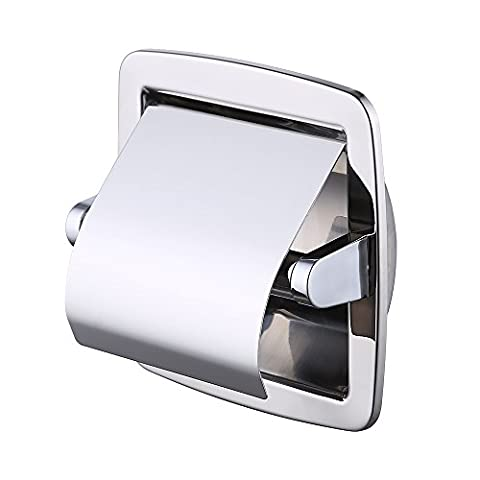 KES Recessed Toilet Paper Holder / Tissue Dispenser with Beveled Edges SUS 304 Stainless Steel Polished Finish, - Nickel Recessed Toilet Paper Holder