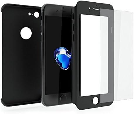 3 piezas híbrida 360 grado 3 en 1 delantera y trasera a prueba de golpes carcasa con protector de cristal templado para Apple Iphone 6 6s 7 7 Plus ...
