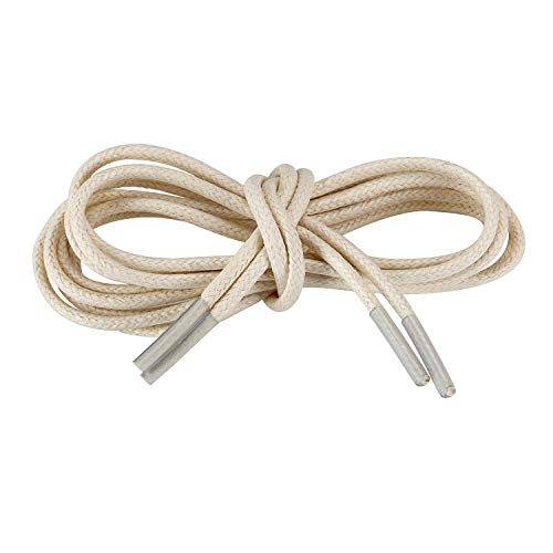 (Handshop Waxed Boot Shoelaces, Cotton Round Shoe Laces for Dress Shoes, White 43.7 inch (111 cm))