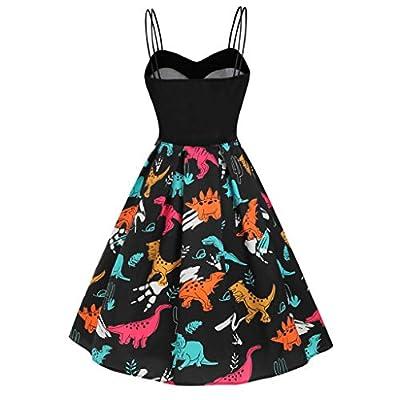 Women's A Line Dress Laides Sleeveless Strap Beach Casual Midi Dress Vintage Dinosaur Cami Empire Waist Swing Dress