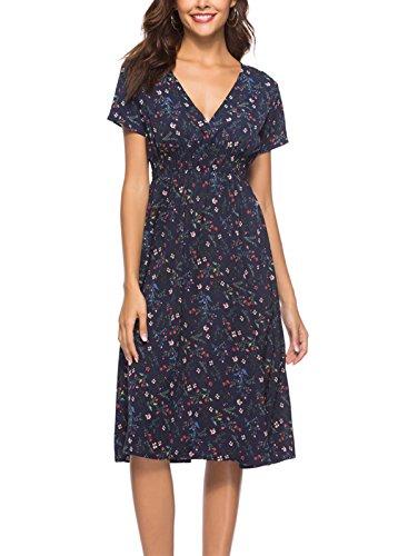 Dress Surplice Chiffon (ZURIFFE Women's Summer Floral V-Neck Faux Wrap Chiffon Midi Dress Navy Blue 2XL)