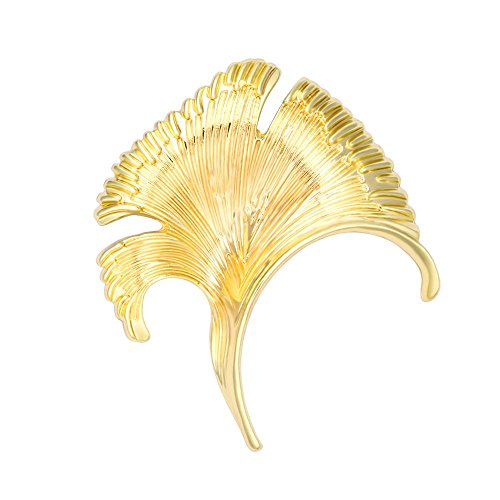 SenFai 10K Gold Plated Ginkgo Tree Leaf Elegant Brooch Suit Lapel Pin Wearable Art (Gold)
