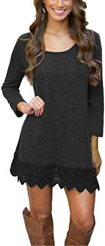 Our Precious Women's Long Sleeve A-line Lace Stitching Trim Casual T-Shirt Dress