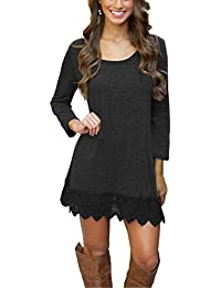 Women's Long Sleeve A-line Lace Stitching Trim Casual...