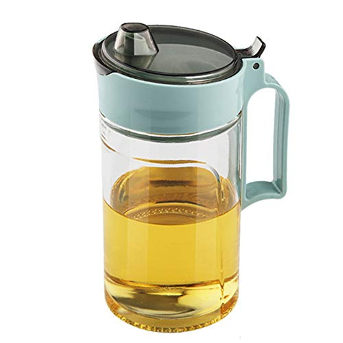 TENTA Kitchen Olive Oil Vinegar Syrups Bottle Dispenser Cruet - 650ml(22Oz) Oil Bottle Glass With No Drip Plastic Bottle Spout And Protective Cap