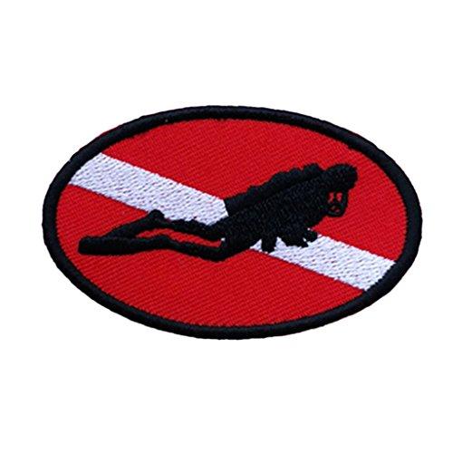 Homyl Embroidered Iron-on Diver Flag Patch Emblem Souvenir For Underwater Scuba Diving - Ellipse