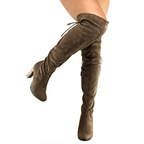 Comfortable Women's Boot The Standard Z Knee Premier Over Dark Trendy High Shoe Heel Heel Thigh Sexy Stretch Boot Pullon Taupe High Premier 5waXgqg