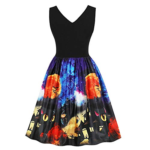 Transer Halloween Costume Sleeveless Retor Cat Ghost Pattern Vintage Pumpkins Evening Prom Swing Knee-Length Dress (L (US:8), Blue) -