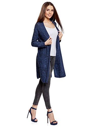 7929m Ultra Long Cardigan oodji avec Poches Femme Bleu 0dqqwHPp