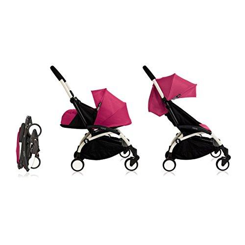 Babyzen YoYo+ Stroller Bundle with White Frame (Yoyo+ Stroller, Canopy & Newborn Pack) (Pink)