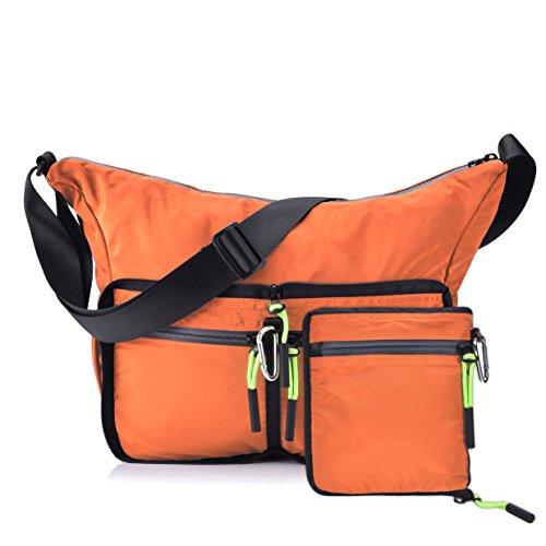 Small Messenger Bag,Foldable and Lightweight Shoulder Bags Unisex Orange Casual Daypacks