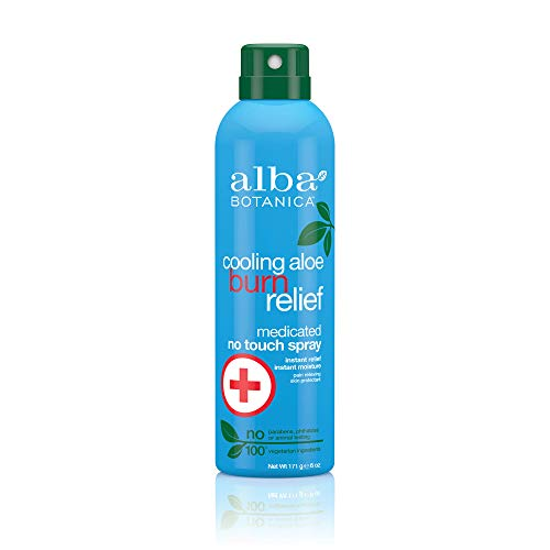 (Alba Botanica Cooling Aloe Burn Relief Medicated No Touch Spray, 6 oz.)