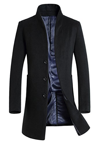 Lavnis Men's Trench Coat Long Wool Blend Slim Fit Jacket Overcoat Size Thin Style Style 2 Black M