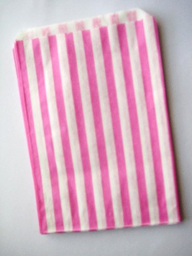 30 CANDY STRIPE – CAKE FAVOUR PARTY BUFFET SWEET BAG -5×7 INCH LUCKY DIP PAPER BAGS – PICK YOUR COLOUR (Pink)