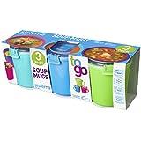 3 Sistema Klip It Single Microwave Soup to Go Mug, 656ml, Assorted Colours