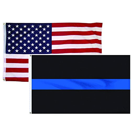 "HomeSmith 2 Pack 3""x5"" Thin Blue Line + USA American Flag Po"