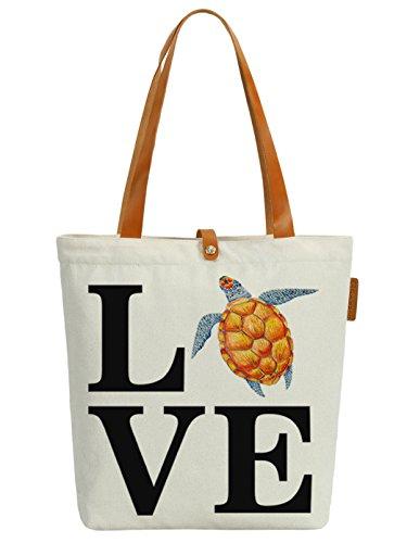 Shopper Tortoise Tote Canvas Bag Graphic Womens Love Handbag Letters Soeach SqxpHHO