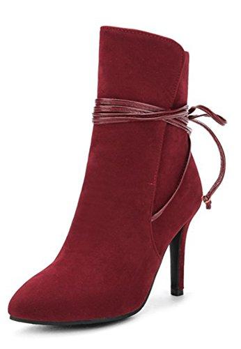 Aisun Damen Elegant Spitz Zehen Schnürung Schleife Stiletto High Heels Kurzschaft Stiefel Rot