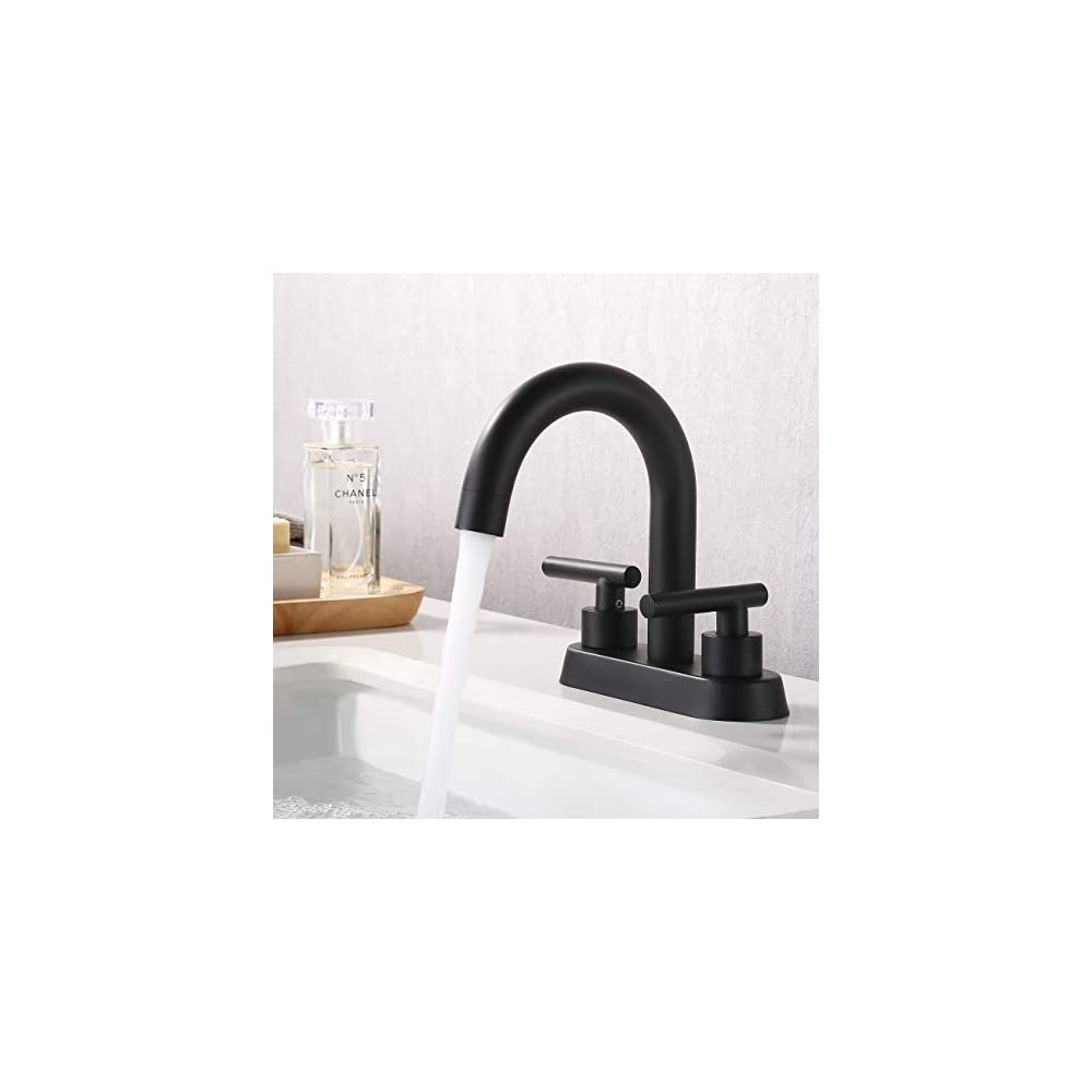 KES Matte Black Bathroom Faucet Modern 4 Inches Centerset Vanity Sink Faucet Brass, L4117LF-BK