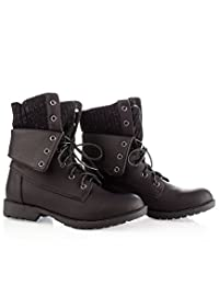 ROF Women's Military Combat Colored Lace Up Mid Calf Boots With Zipper Closure