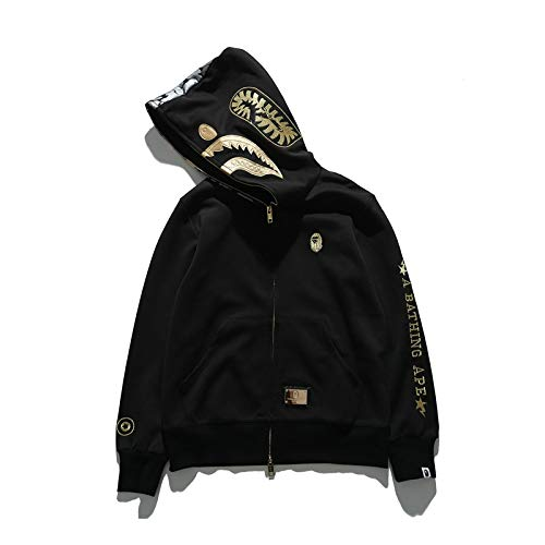 2019 Embroidered Cotton Shark Hooded Sweater Youth Casual Hooded Jacket Black