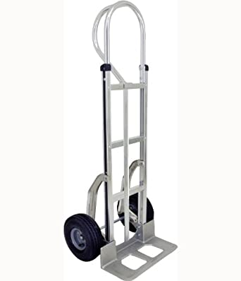 "RWM Casters Aluminum Fixed Hand Truck with Vertical Loop Handle and Aluminum Center Strap, Pneumatic Wheels, Extruded Aluminum Nose Plate, 500 lbs Load Capacity, 53"" Height, 18"" Width x 9"" Depth"