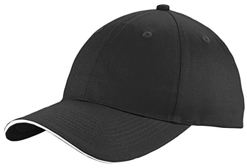 (Port & Company Unstructured Sandwich Bill Cap C919 -Black/ White OSFA )