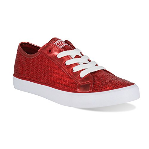 Gotta Flurt Youth Disco II Lace Up Low Top Sneakers, Red, Size -