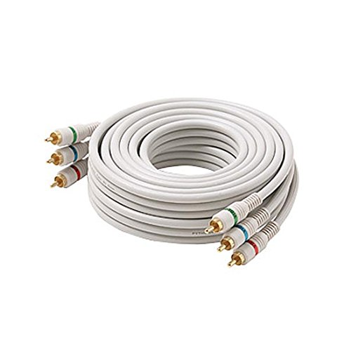 12' FT 3 RCA Component Cable Male to Male Ivory Gold Python Stereo Double Shielded Video Audio Color Coded Gold Plated Connectors Python Cable Stereo Double Shielded ()
