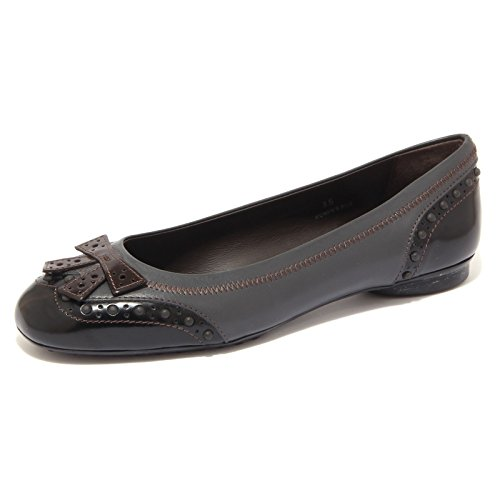 Dew Grigio Vintage Women Tod's 76894 Bucature Donna Moro Scuro Di Shoes Ballerina testa 5xZxq8Rg