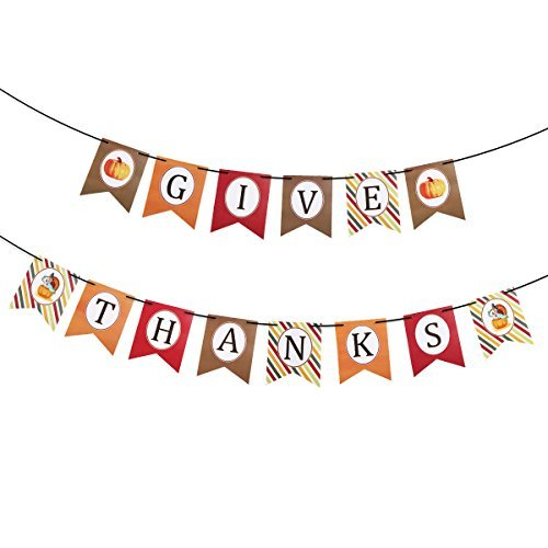 FENICAL THANKSGIVE Paper Banner Hanging Garland Banner Thanksgiving Party Decoration with Black Silk Ribbon