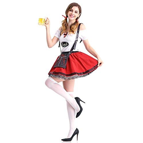 Slocyclub Women's German Oktoberfest Costume Dirndl (Lederhosen Halloween Dog Costume)