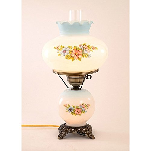 Summit Lamp Floral Hurricane Antique Brass Finish Table Lamp