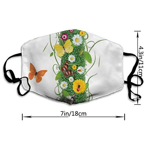 Adult Anti Dust Mouth Mask Nature Themed Alphabet Element Green Foliage Daisies Butterflies Capital I Fashion Outdoor Face Mask with Adjustable Earloops