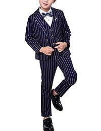 Fengchengjize Boy 3 Pcs Tuxedo Suits Formal Suit Stripe Classic Stripe Set Suits