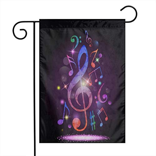 Private Bath Customiz Colorful Music Notes Rhythm Song Garden Yard Flag Welcome House Flag Banners for Patio Lawn Outdoor Home Decor]()